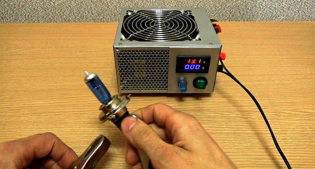 Подключение галогеновой лампы к зарядному устройству