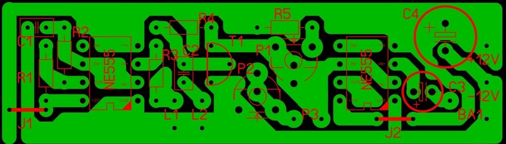 Печатная плата металлоискателя на двух микросхемах NE 555