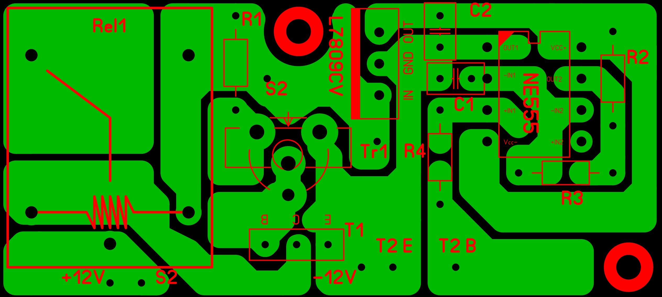 Печатная плата импульсного преобразователя напряжения с 12 на 220В с защитой от разряда аккумулятора