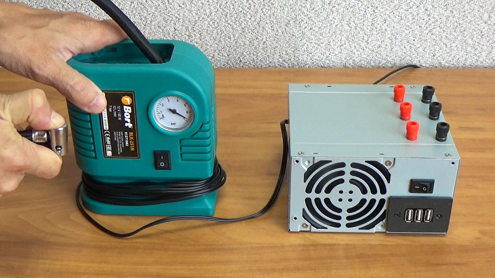 Подключение автомобильного компрессора к компьютерному блоку питания