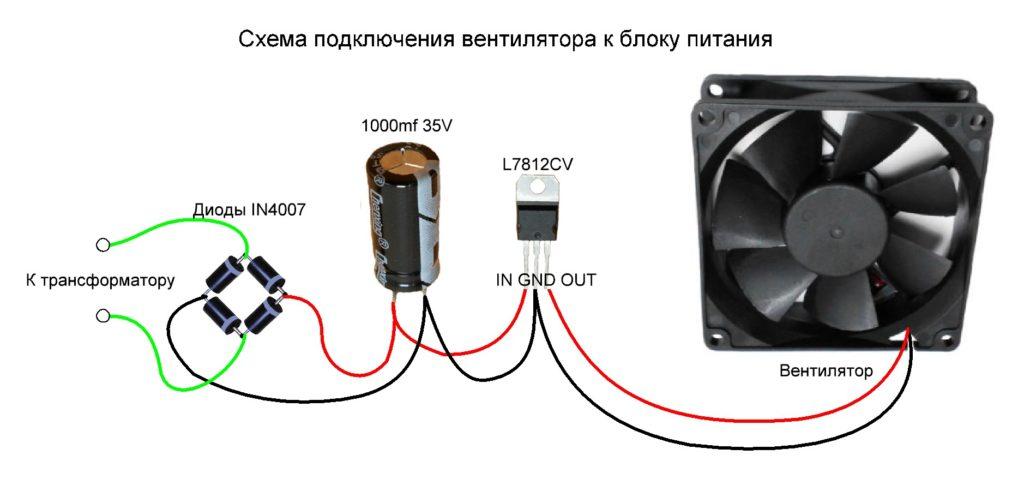 Схема подключения вентилятора к блоку питания