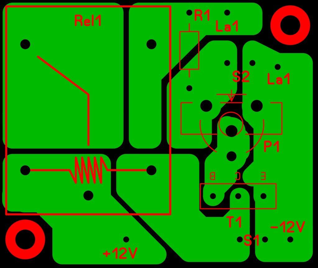 Печатная плата устройства защиты гелевого и кислотного аккумулятора от глубокого разряда