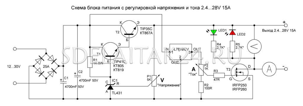 Схема блока питания с регулировкой тока и напряжения 2.4...28В 15А
