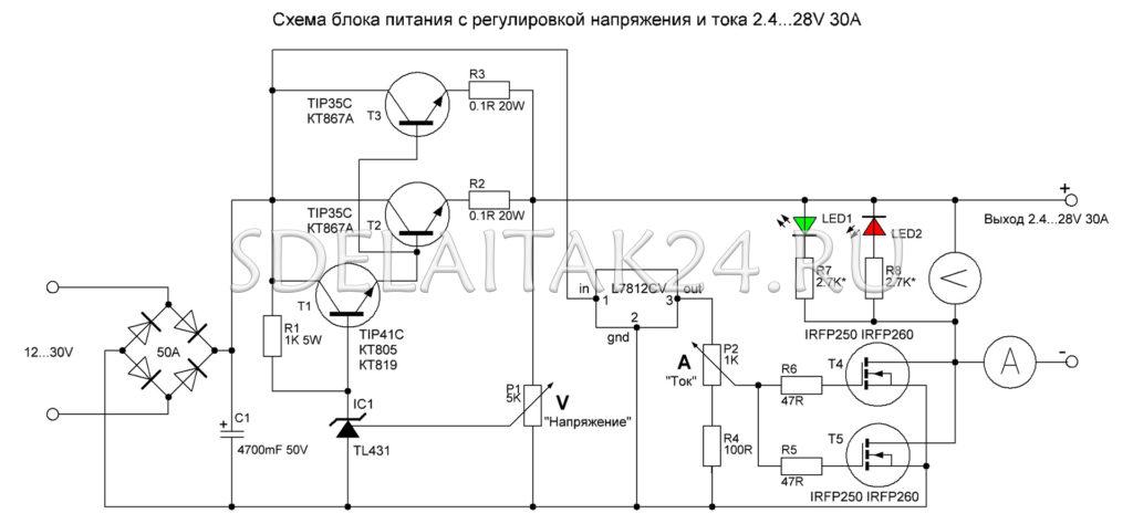 Схема блока питания с регулировкой тока и напряжения от 2.4В до 28В 30А