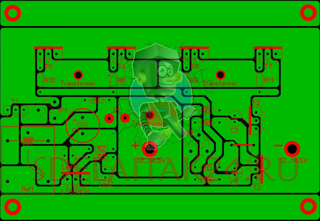Печатная плата преобразователя напряжения с 12 на 220В 50Гц